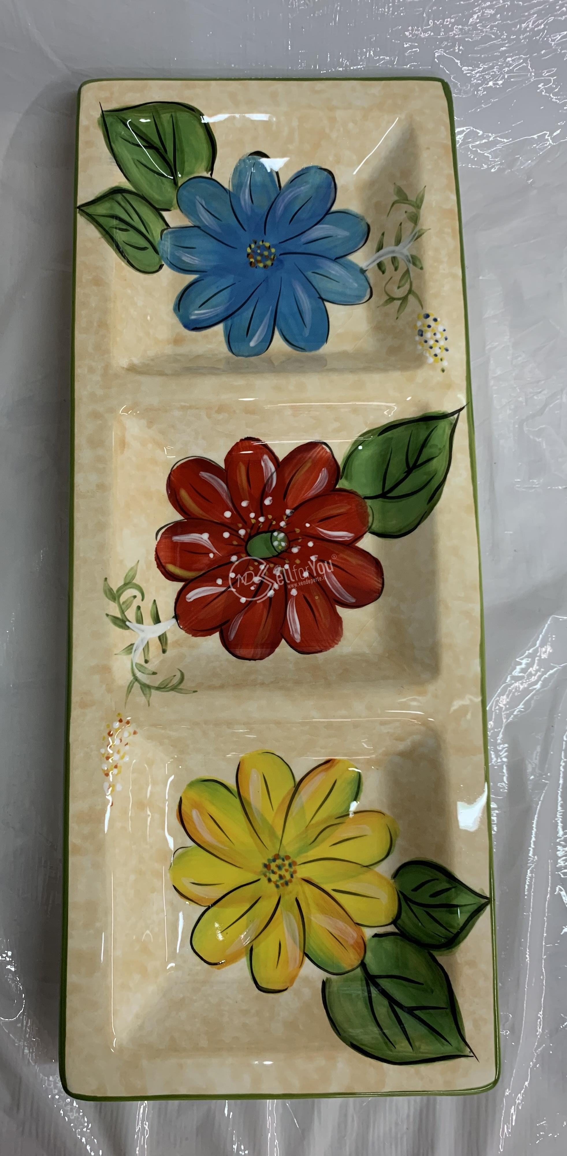 sellforyou immagine articolo Piatto rettangolare in fine ceramica dipinta a mano Artemisia